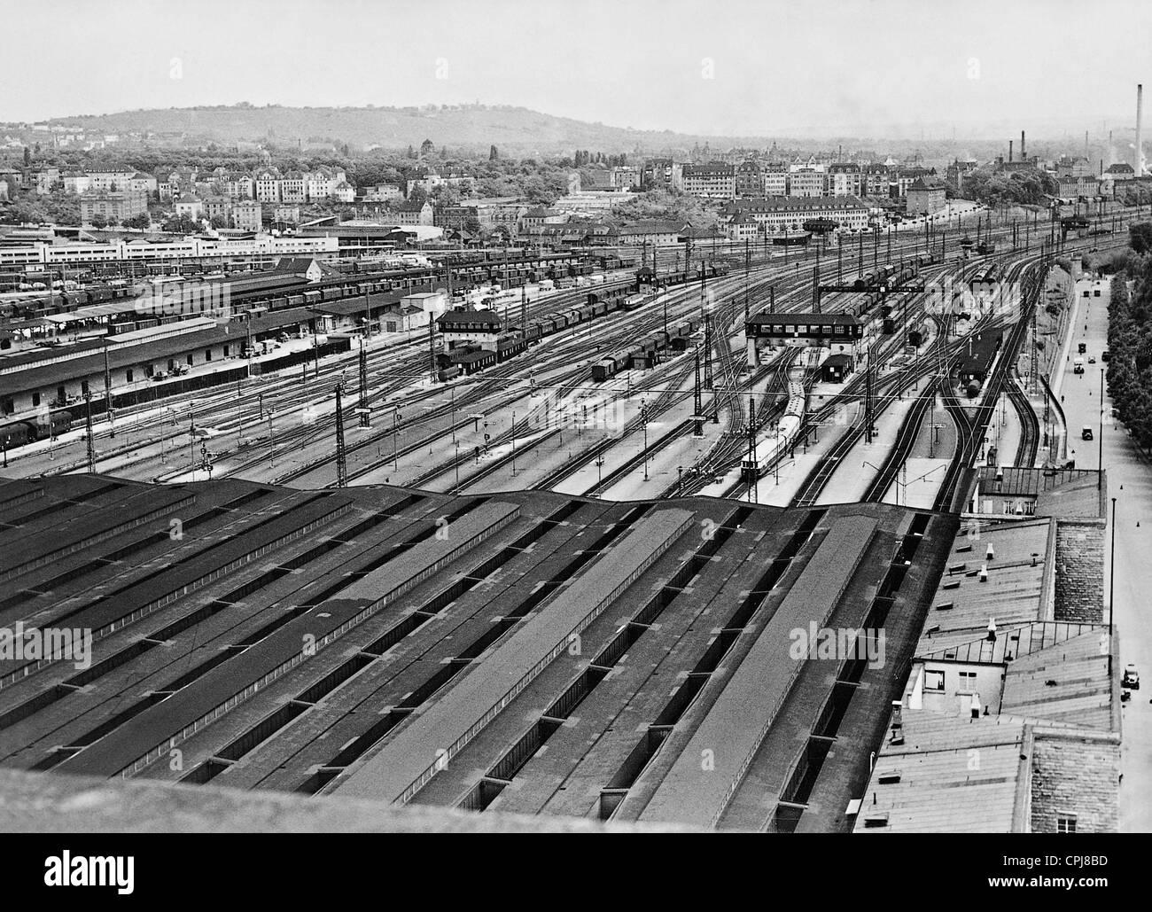 Railroad tracks of the Stuttgart Central Station - Stock Image