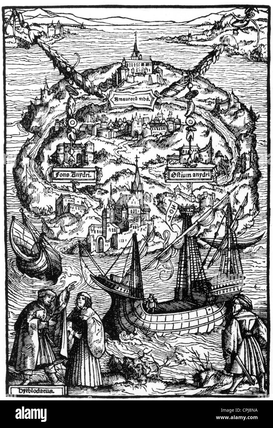 Titelholzschnitt zu dem Buch 'Utopia', 1516 - Stock Image