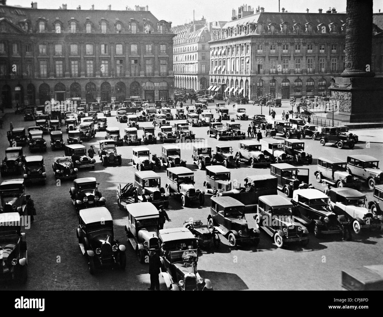 Parked cars on the Place Vendome, 1928 Stock Photo