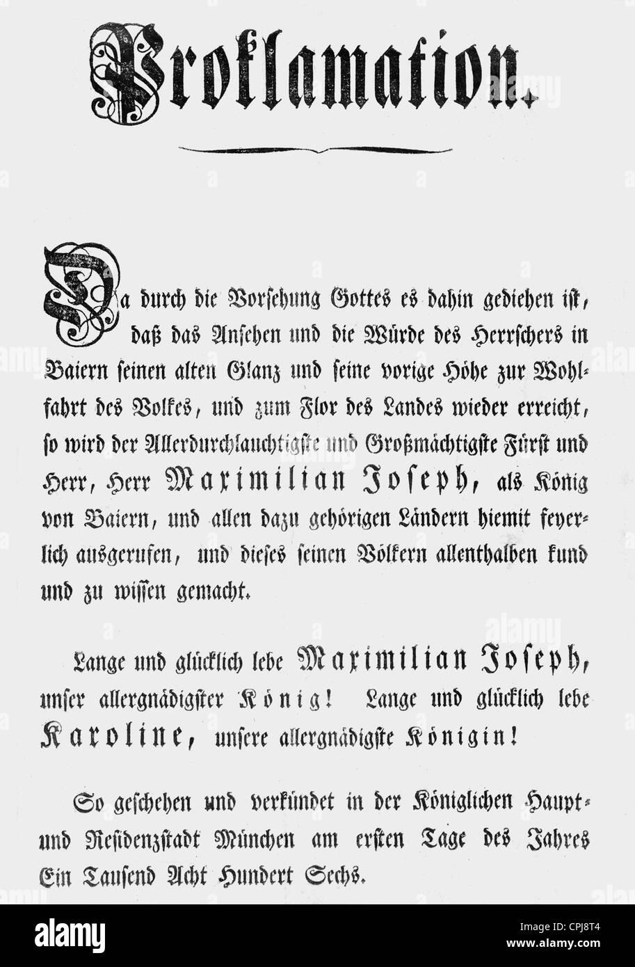 Royal Proclamation, 1806 - Stock Image