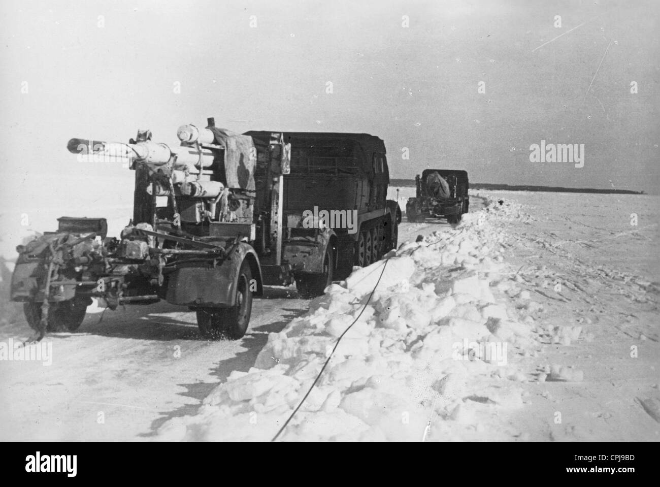 German anti-aircraft on the march on the Arctic Ocean front, 1942 - Stock Image