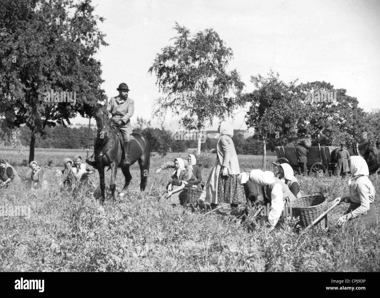 Squire and farmhands in 'The Kreutzer Sonata', 1937 - Stock Image