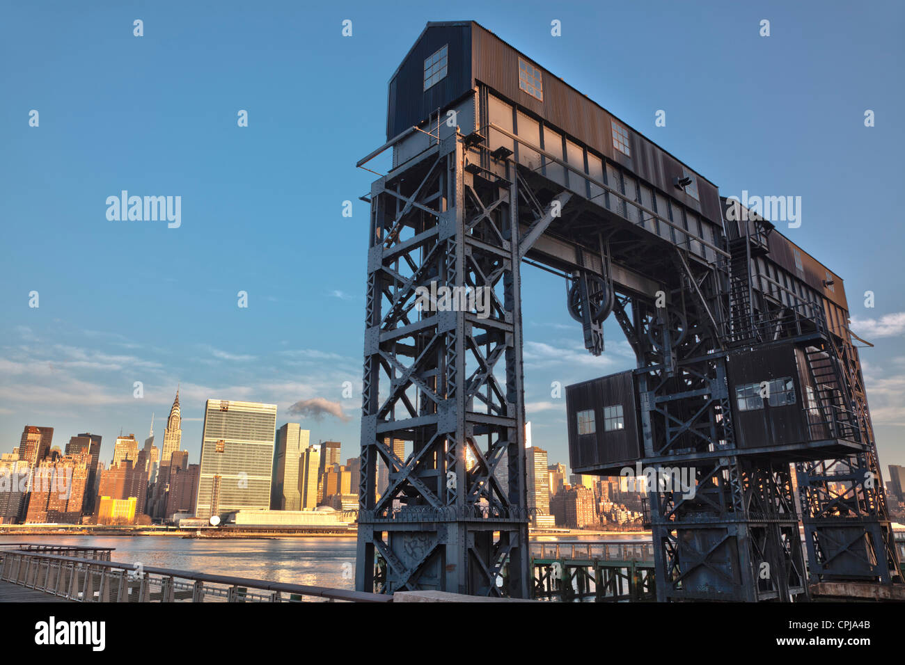 New York City skyline of Midtown Manhattan, viewed from Gantry Park in Brooklyn, New York City. - Stock Image