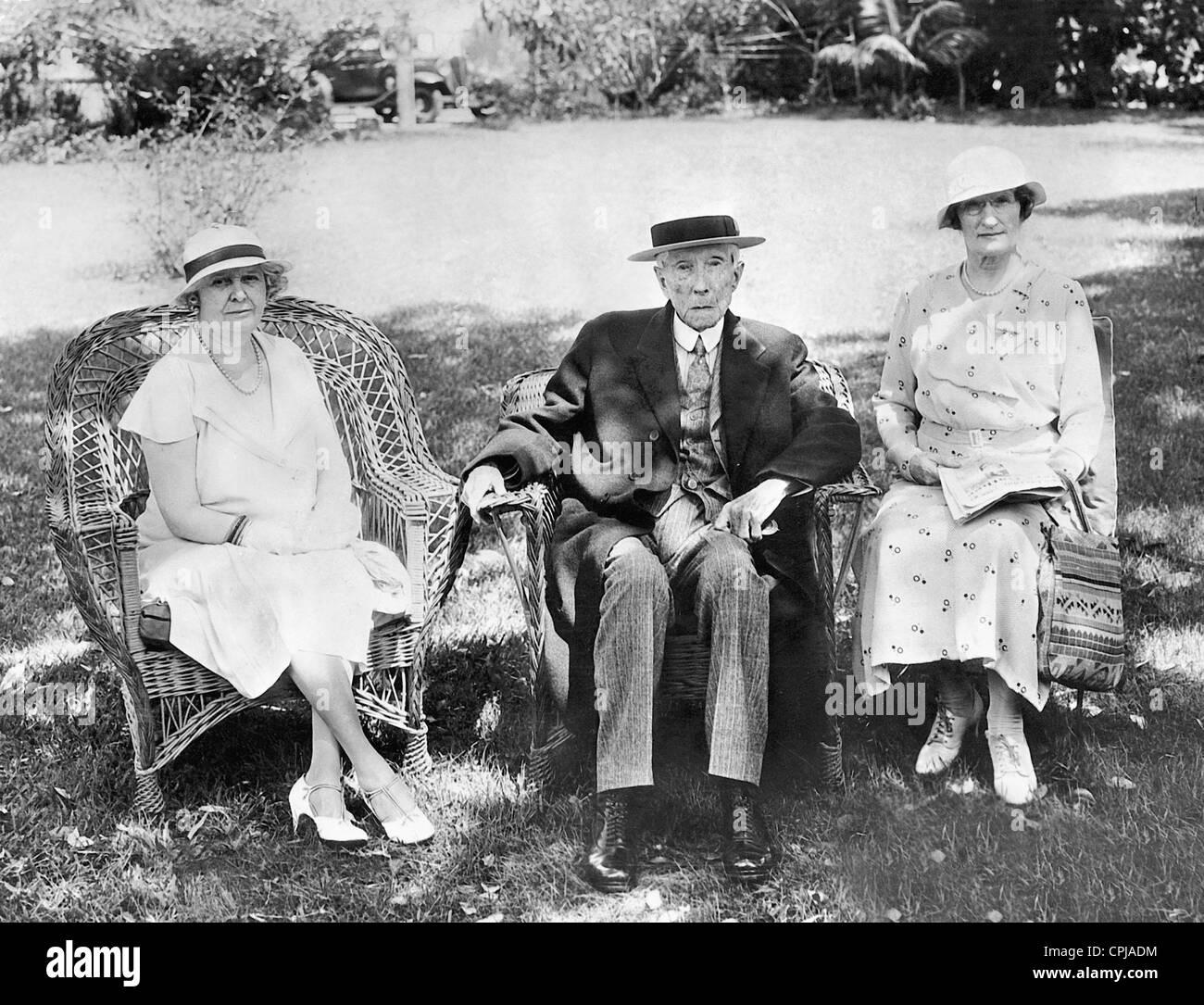I.B. Warner of Bridgeport, John D. Rockefeller and W.R. Mitchell, 1934 Stock Photo