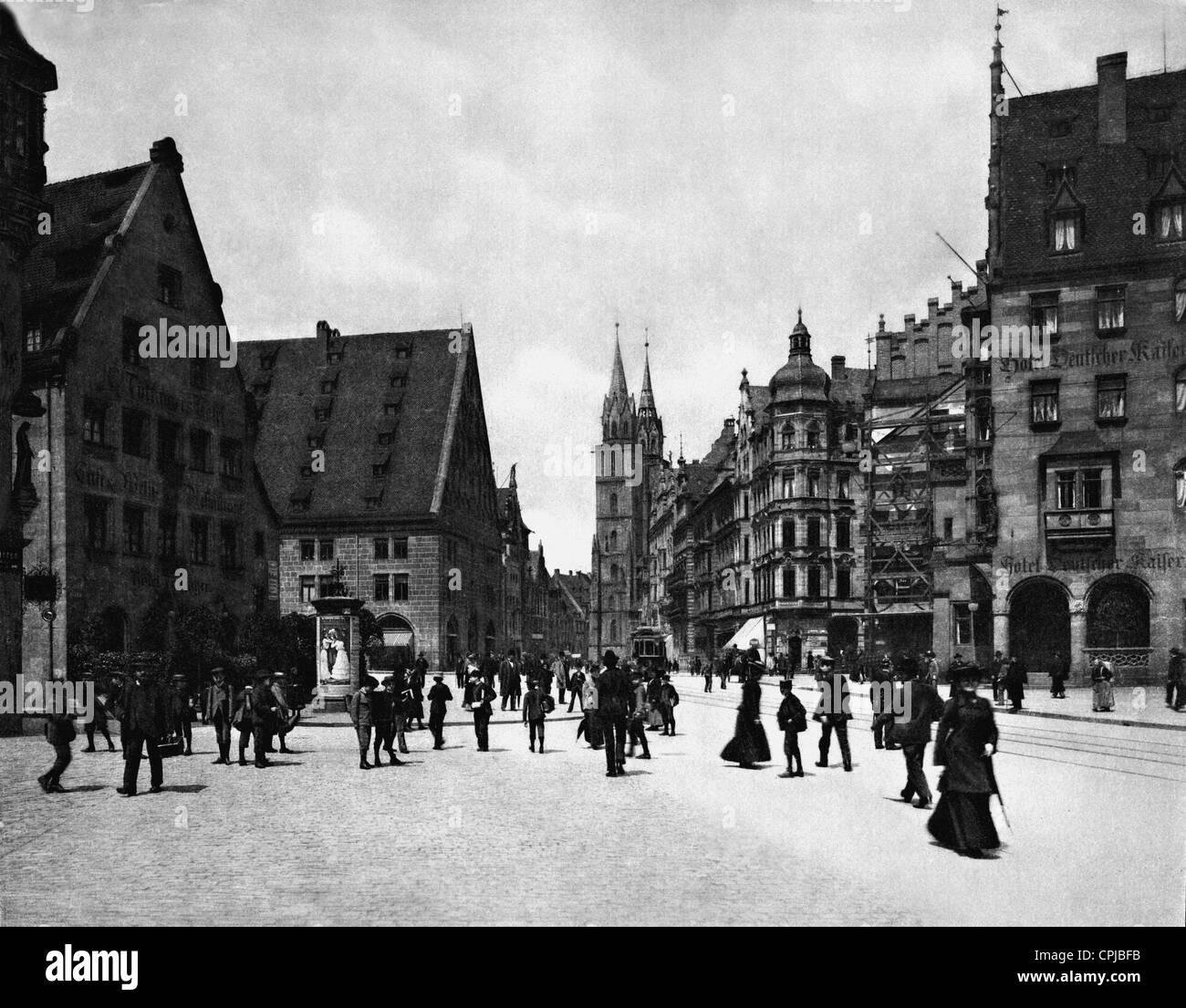 Koenig Street in Nuremberg - Stock Image