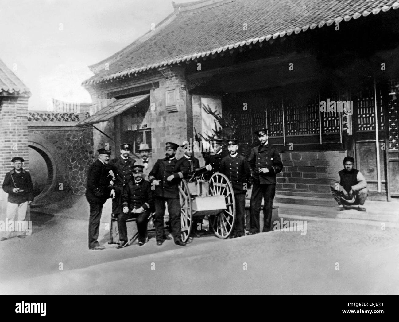 Sea captain Zeye with his officers and interpreters, 1897 - Stock Image