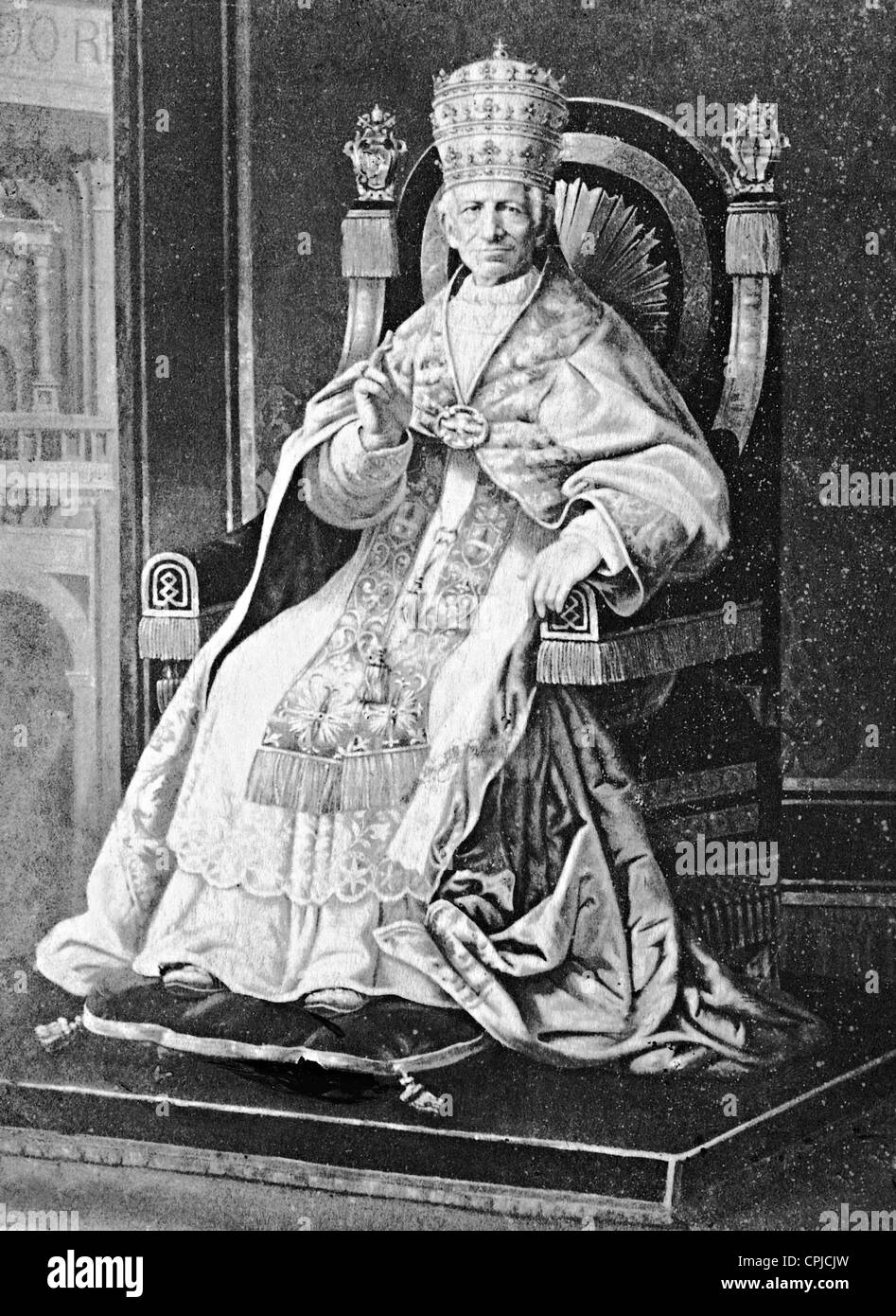 Pope Leo XIII in full regalia on the holy throne, 1897 - Stock Image