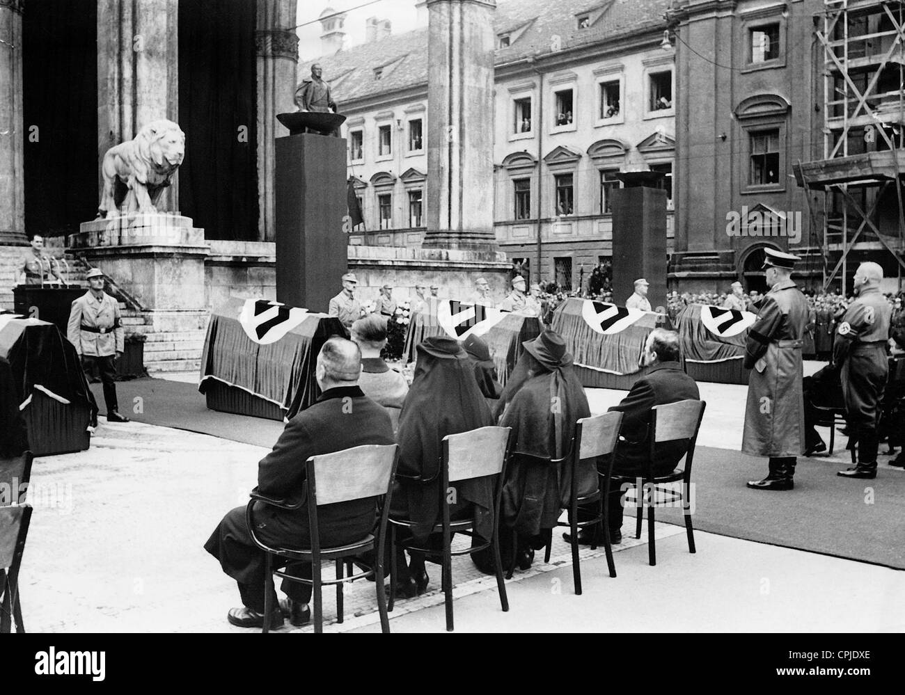 Hess, Hitler and Wagner at the act of state for the victims of the assassination attempt on Hitler in Buergerbraeukeller, Stock Photo