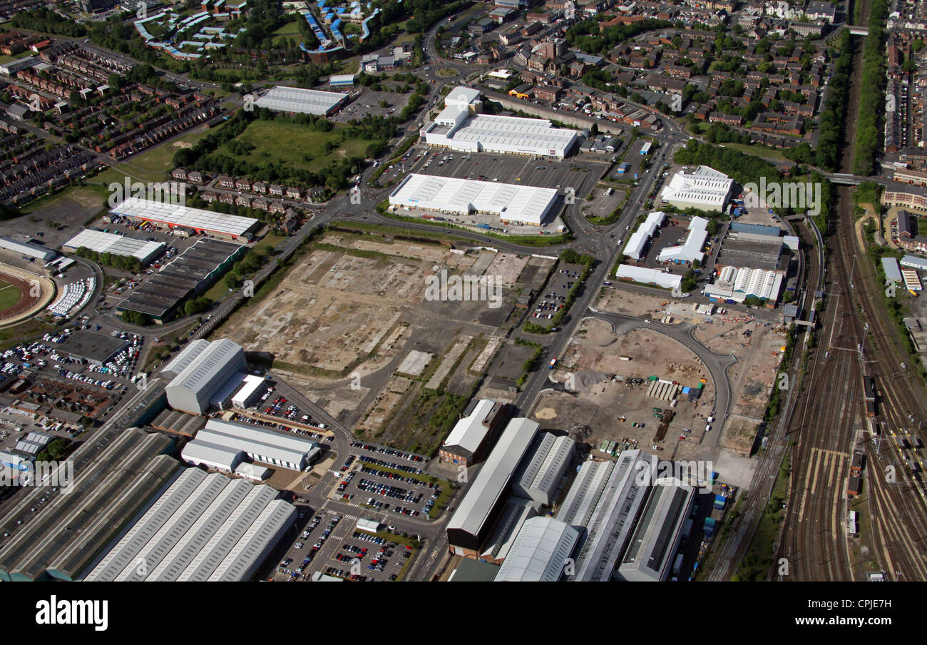 aerial view of development land at Byker, Newcastle upon Tyne - Stock Image