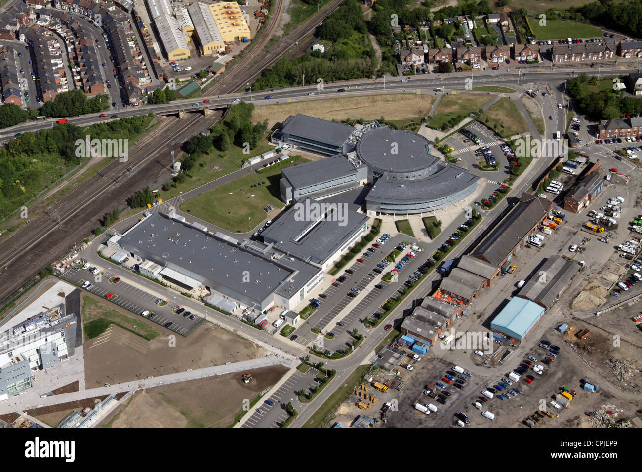 aerial view of Darlington College - Stock Image