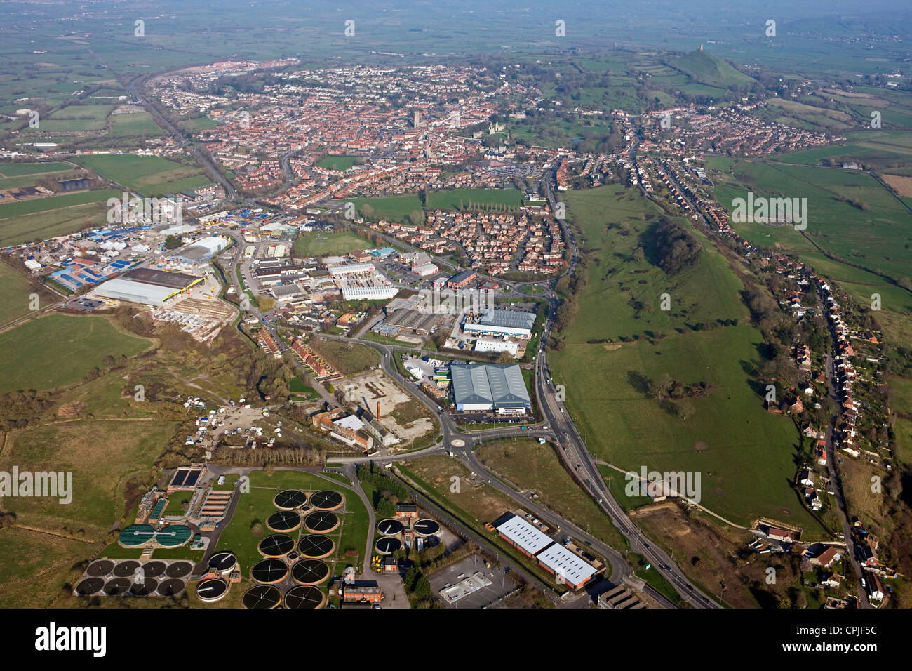 aerial view of industrial area of Glastonbury, Wiltshire - Stock Image