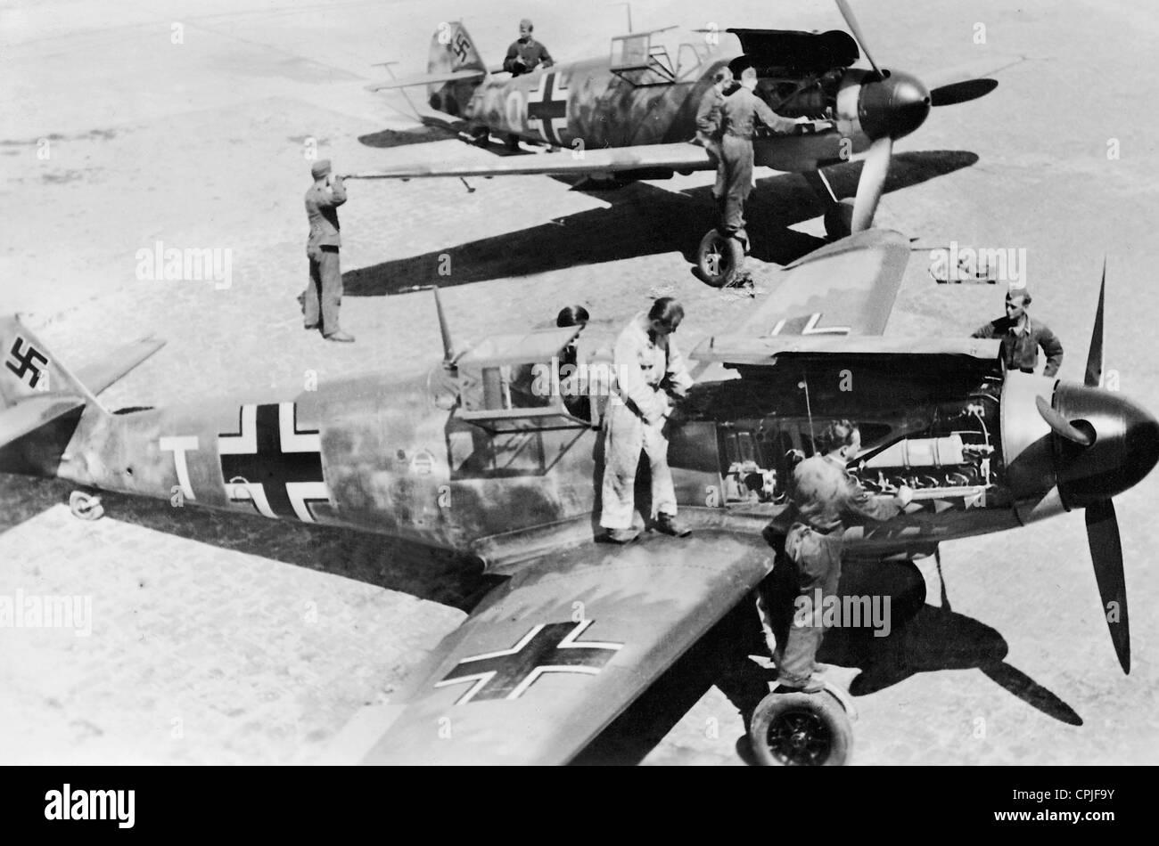 Maintenance of the fighter aircraft Messerschmitt Me 109 - Stock Image
