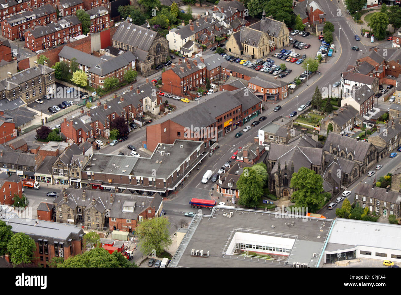 aerial view of small shops in Headingley, where North Lane meets the Otley Road - Stock Image