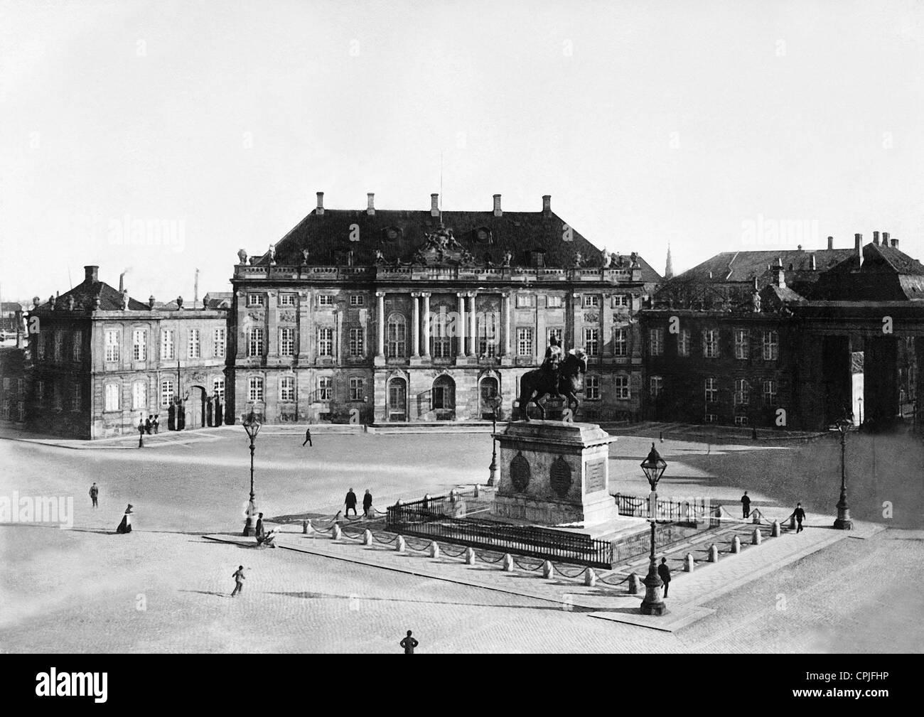 Amalienborg Palace in Copenhagen, 1894 - Stock Image