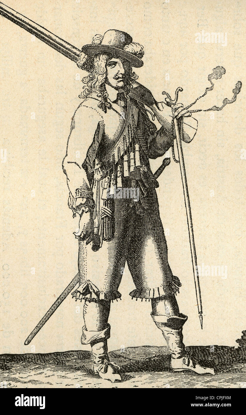 Army of the 18th century. France. Musketeer of the Infantry of Louis XIV marching. Engraving. - Stock Image