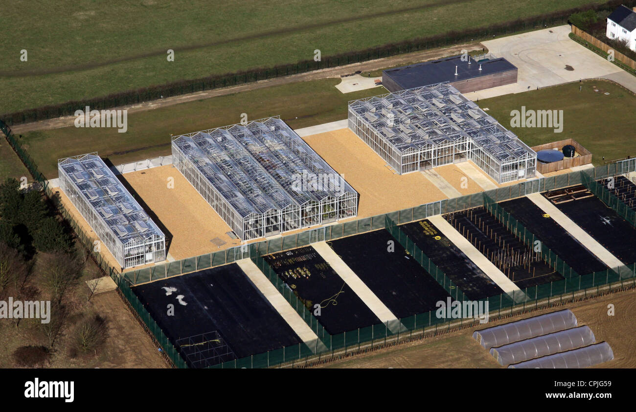 aerial view of commercial greenhouses at Histon in Cambridgeshire - Stock Image