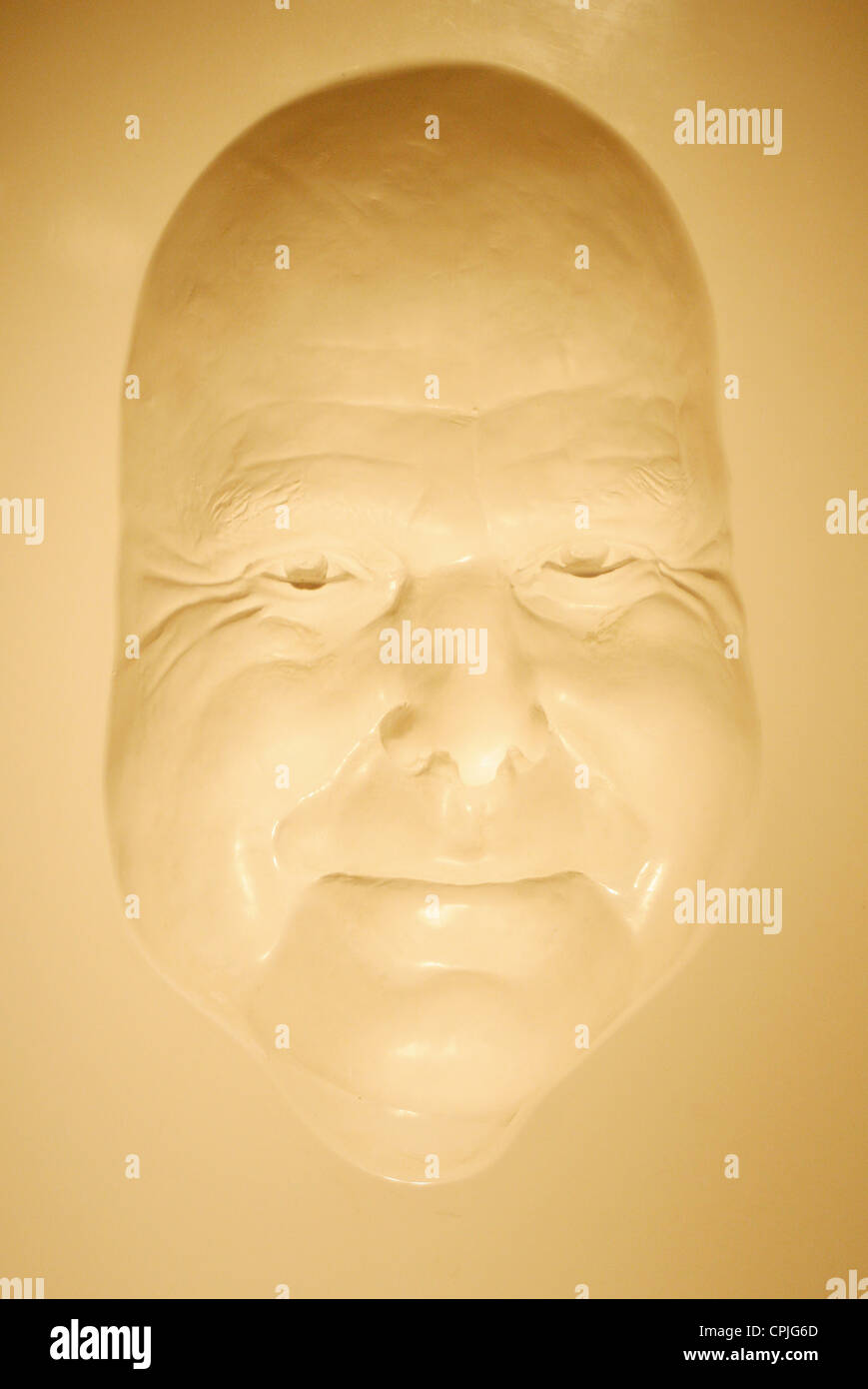 A casting mould of a face in the wax works Madame Tussauds, Berlin, Germany - Stock Image