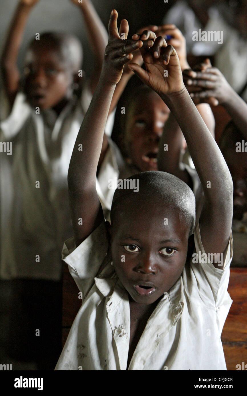 A class at the IDP CCLK Camp, Goma, Democratic Republic of the Congo Stock Photo