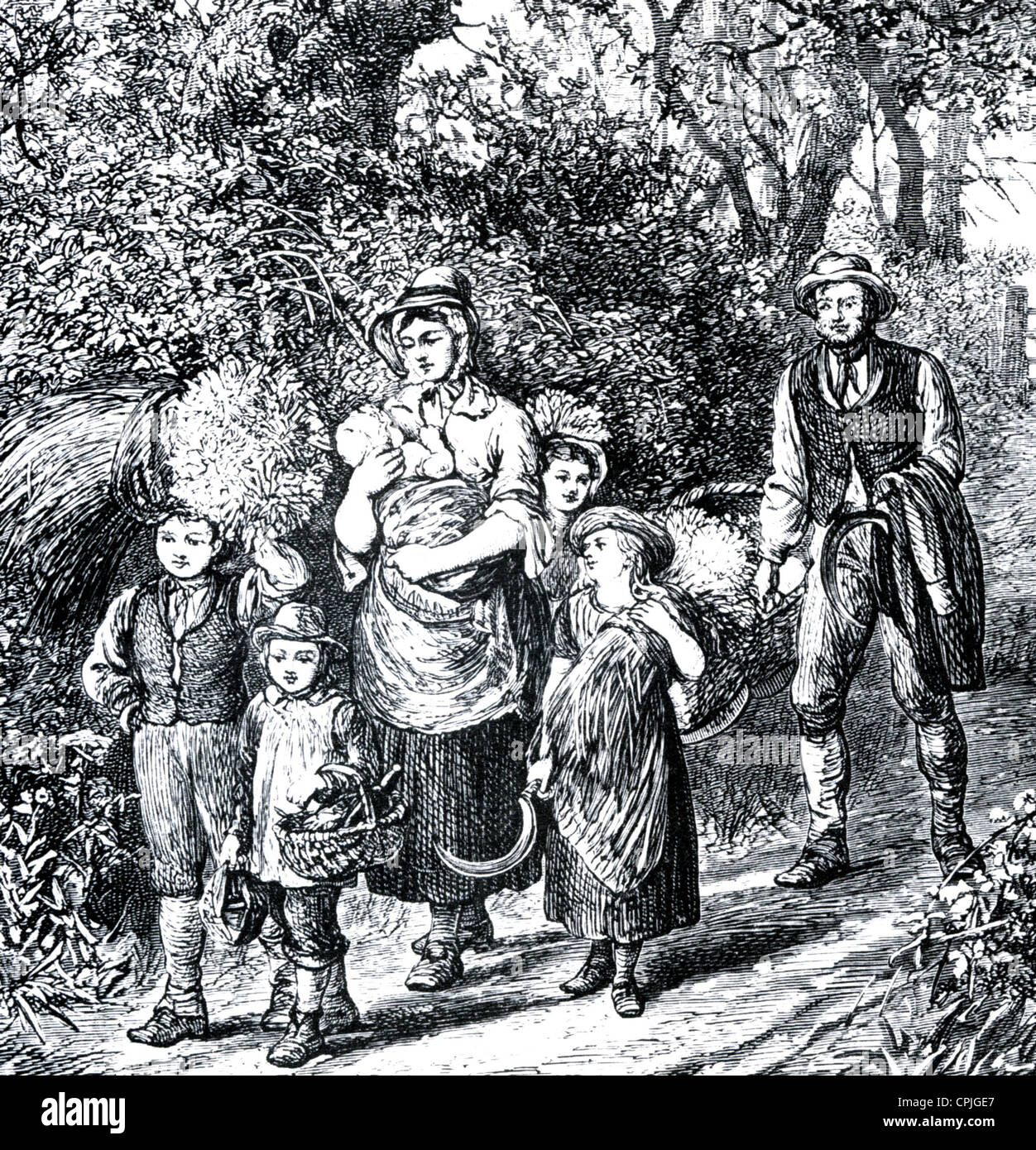 VICTORIAN FARM WORKER AND FAMILY  An idealised engraving from 'Our Village' by Mary Russell Mitford, re - Stock Image