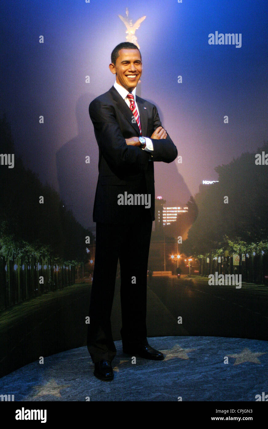 A wax figure of Barack Obama in the wax works Madame Tussauds, Berlin, Germany - Stock Image