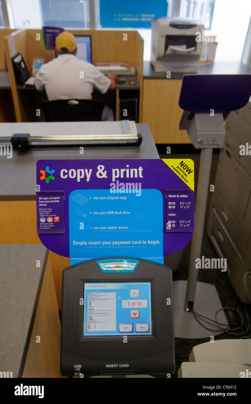 Miami Beach Florida FedEx Kinkos Office Copy Center Centre Business Self Service Printing Copier Insert Credit Card Instruction