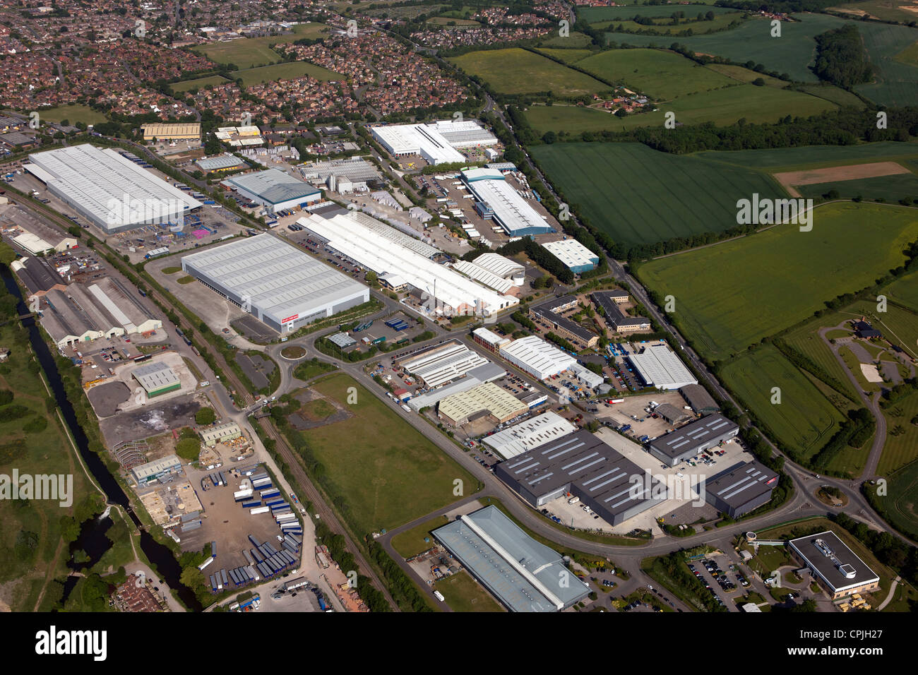 aerial view of Thatcham Industrial Estate, Berkshire - Stock Image