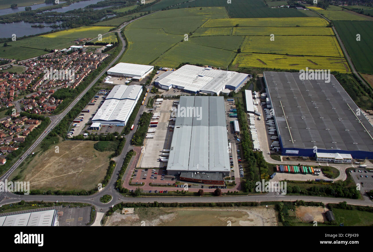 aerial view of Thrapston Industrial Estate, Northamptonshire - Stock Image