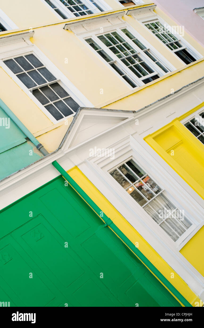 Coloured Houses in Oriel street, Oxford, England - Stock Image