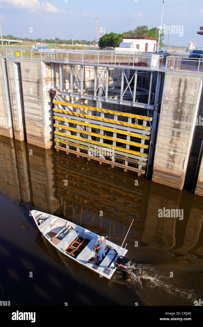 Florida Lake Okeechobee Port Mayaca Locks boat entering Stock Photo