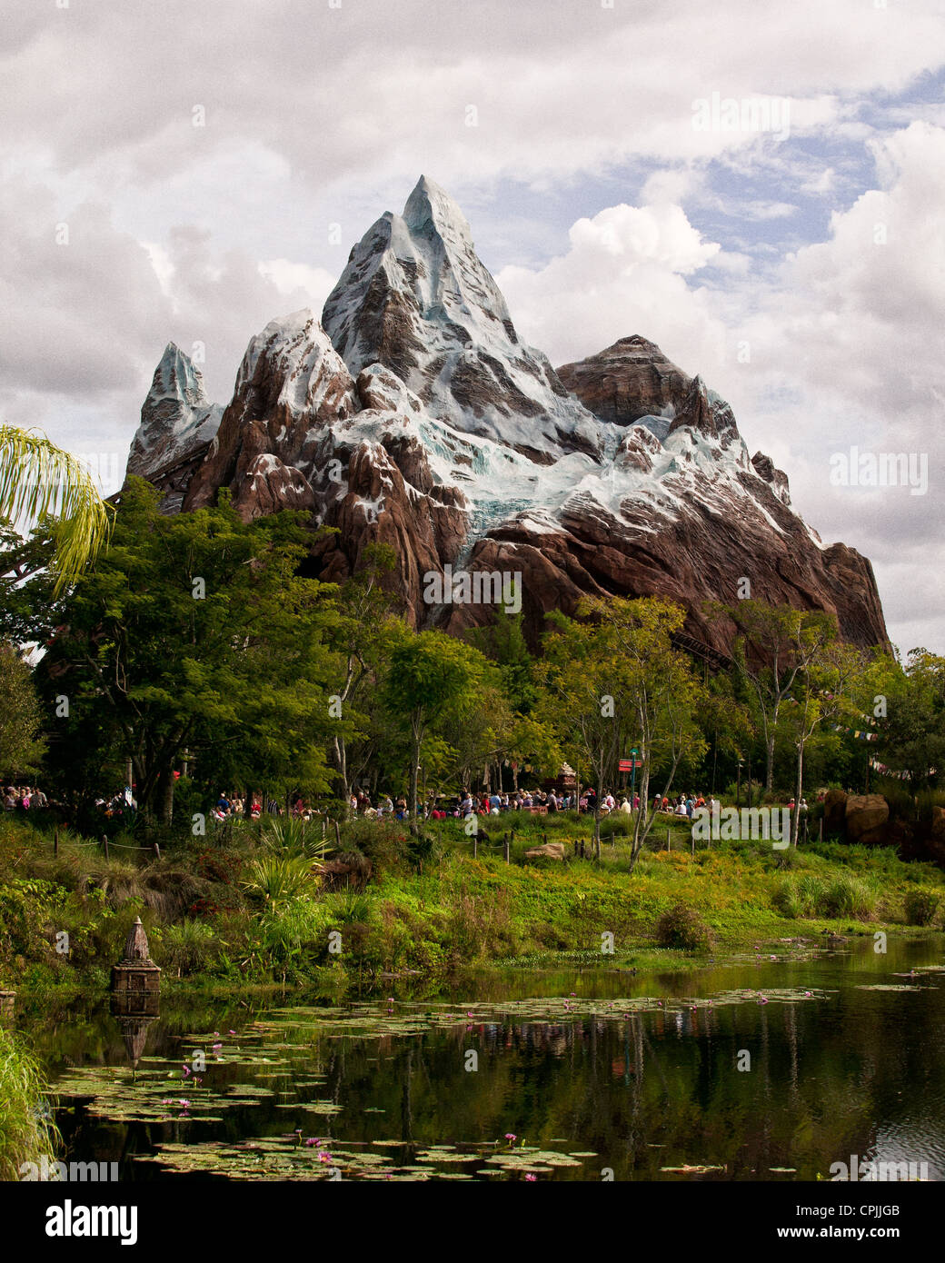 Animal Kingdom Disney Expedition Everest Florida Orlando USA on a cloudy day. - Stock Image