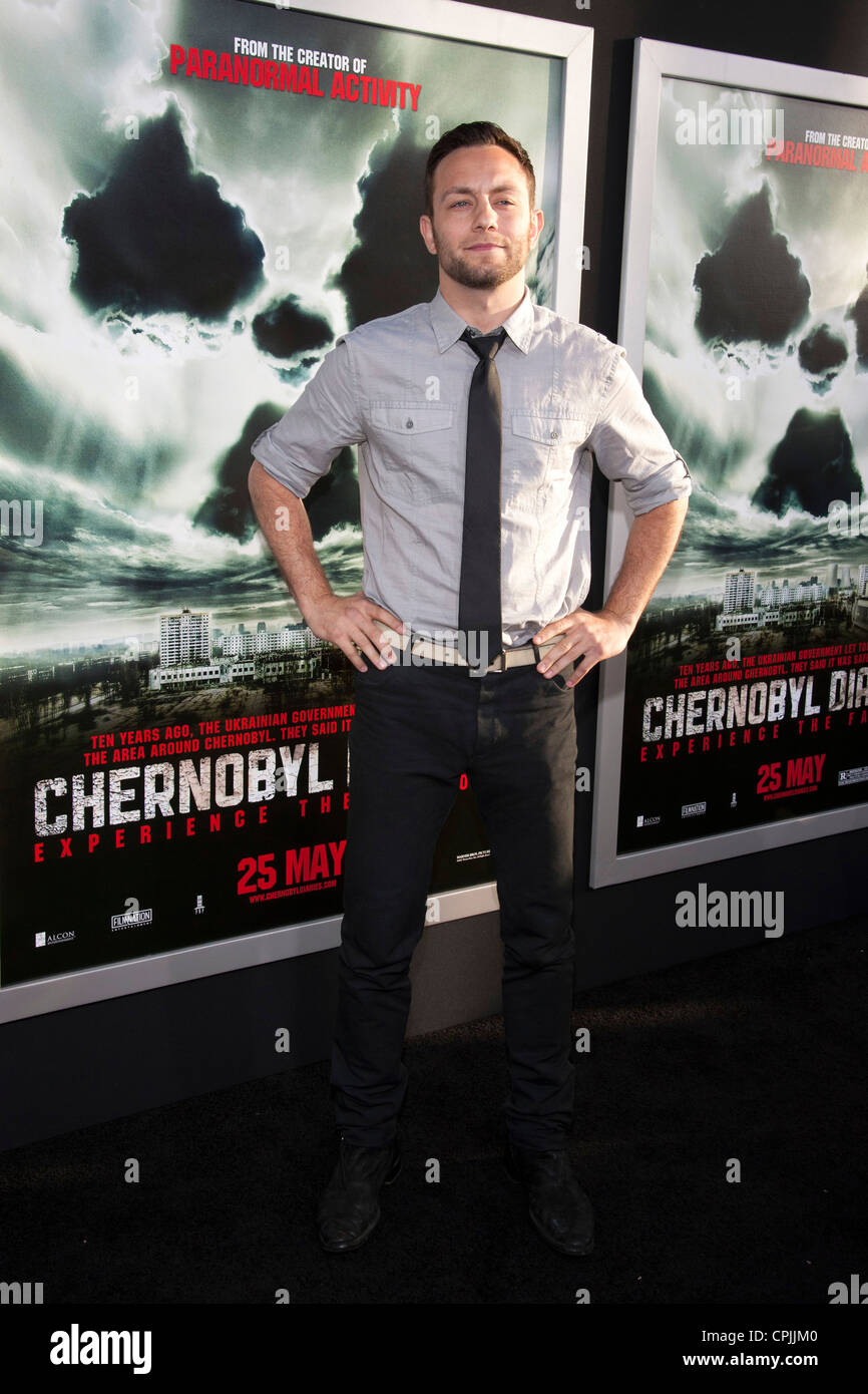 Jonathan Sadowski arrives at the Special Fan Screening of Chernobyl Diaries at the Cinerama Dome in Hollywood. - Stock Image
