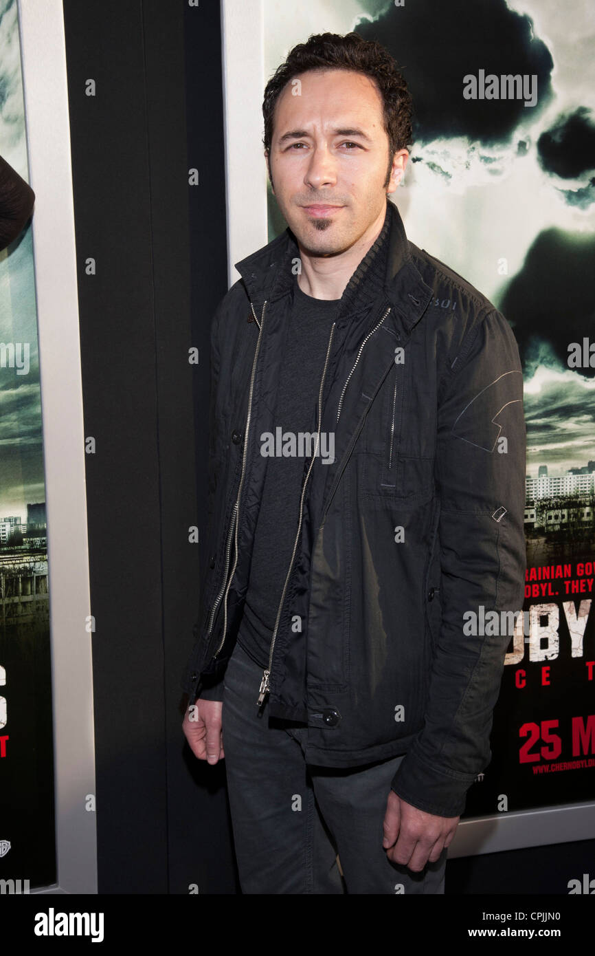 Diego Stocco arrives at the Special Fan Screening of Chernobyl Diaries at the Cinerama Dome in Hollywood. - Stock Image