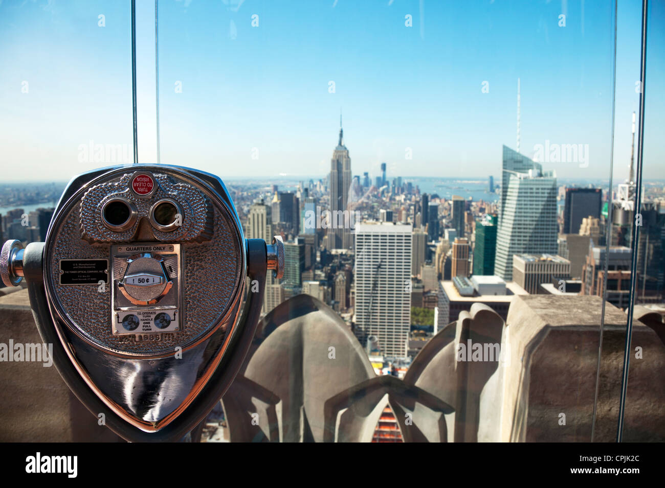 New York City midtown and lower Manhattan viewing point from the Rockefeller centre center Empire State building - Stock Image