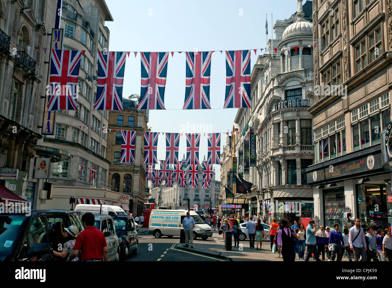 Union Jack bunting between Leicester Square & Piccadilly Circus, London - Stock Image