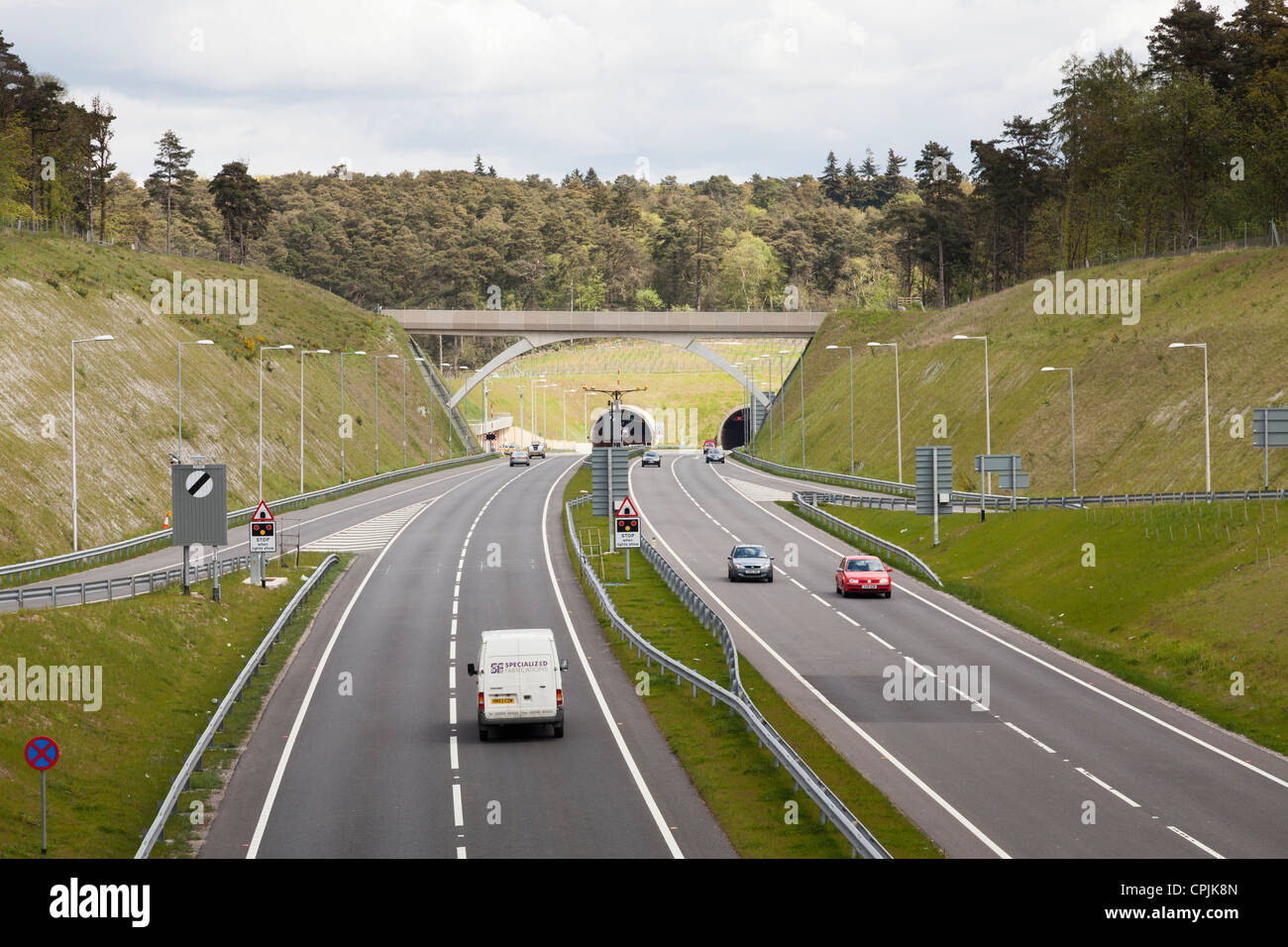 Southern dual carridgeway entrance to hindhead road tunnel. - Stock Image