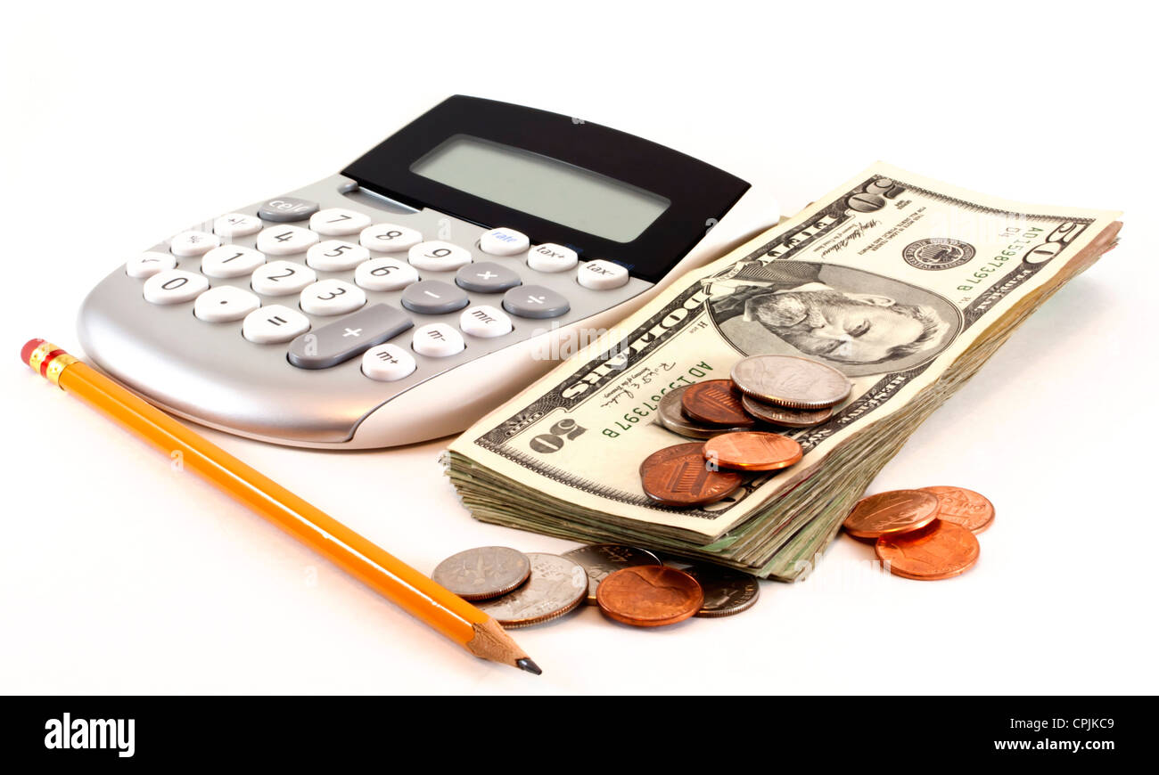 Personal finance and accounting with calculator, money and yellow pencil isolated on white background. - Stock Image
