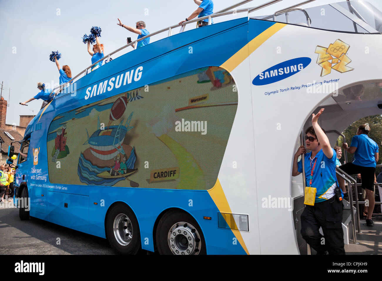 The Samsung sponsorship lorry on the Ludford Bridge, Ludlow, Shropshire as part of the London 2012 Olympic Torch - Stock Image