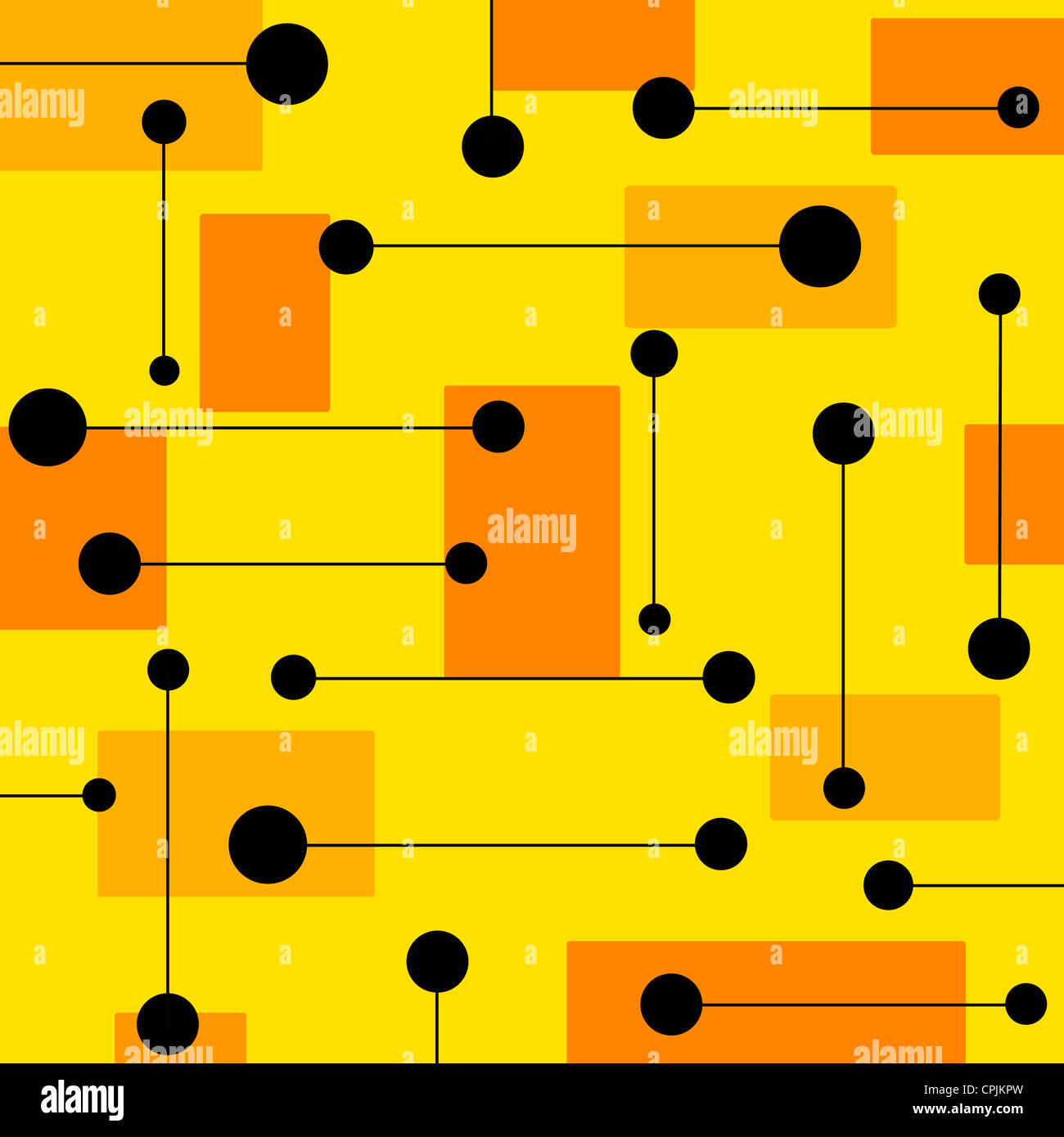 Retro geometrical shapes pattern on yellow and orange colors Stock Photo