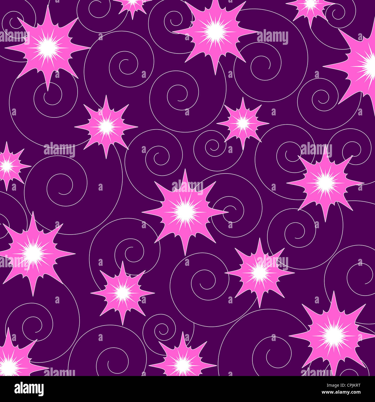 Seamless flowers and spiral pattern on purple Stock Photo