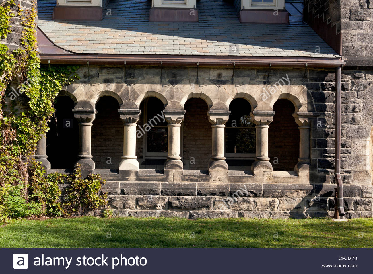 Colonnade at University College a National Historic Site of Canada at the University of Toronto in Toronto Ontario - Stock Image