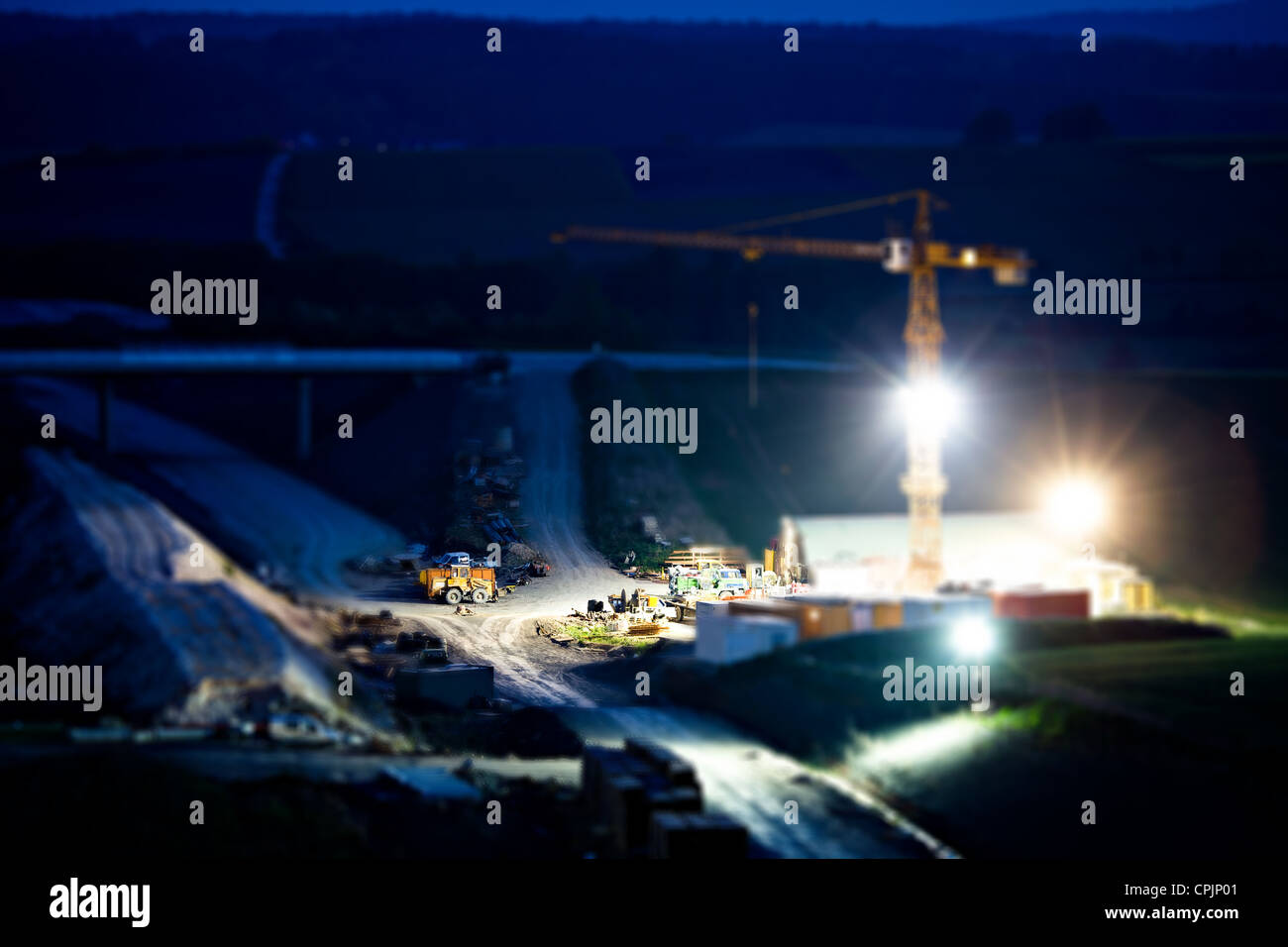 Construction of neu motorway in Germany - Stock Image