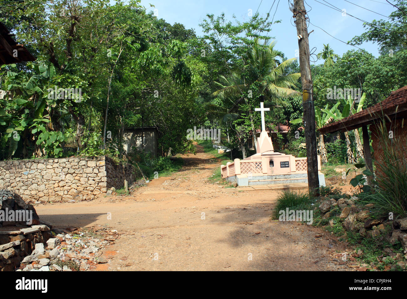 An Old Cross in Vattakkav village Konni,Keralam, India, build in 1913 - Stock Image