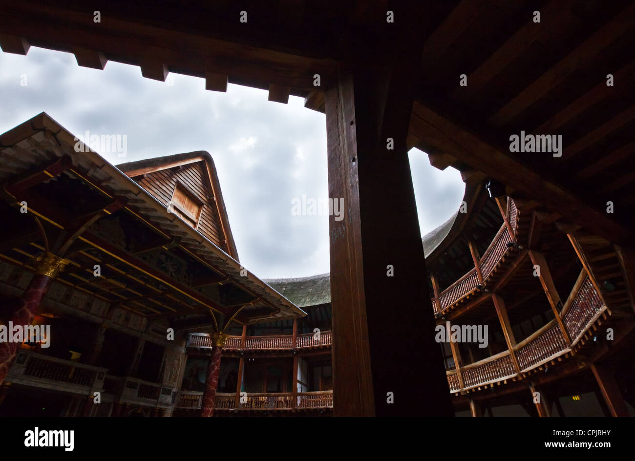 London, the Shakespeare's places, the Globe theatre rebuilded with the same materials and tecniques of the original - Stock Image