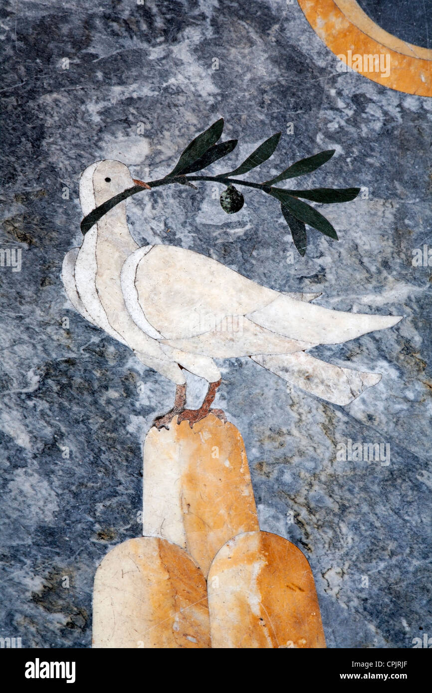 Rome - dove from floor of vestibule in Lateran basilica - Stock Image