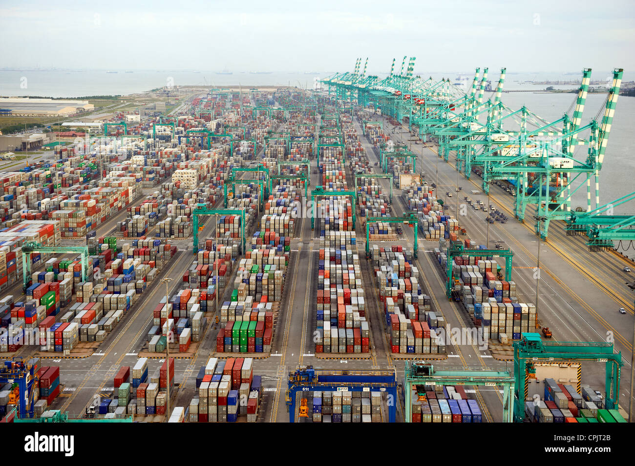 A container terminal shipping port in Johor, Malaysia. - Stock Image