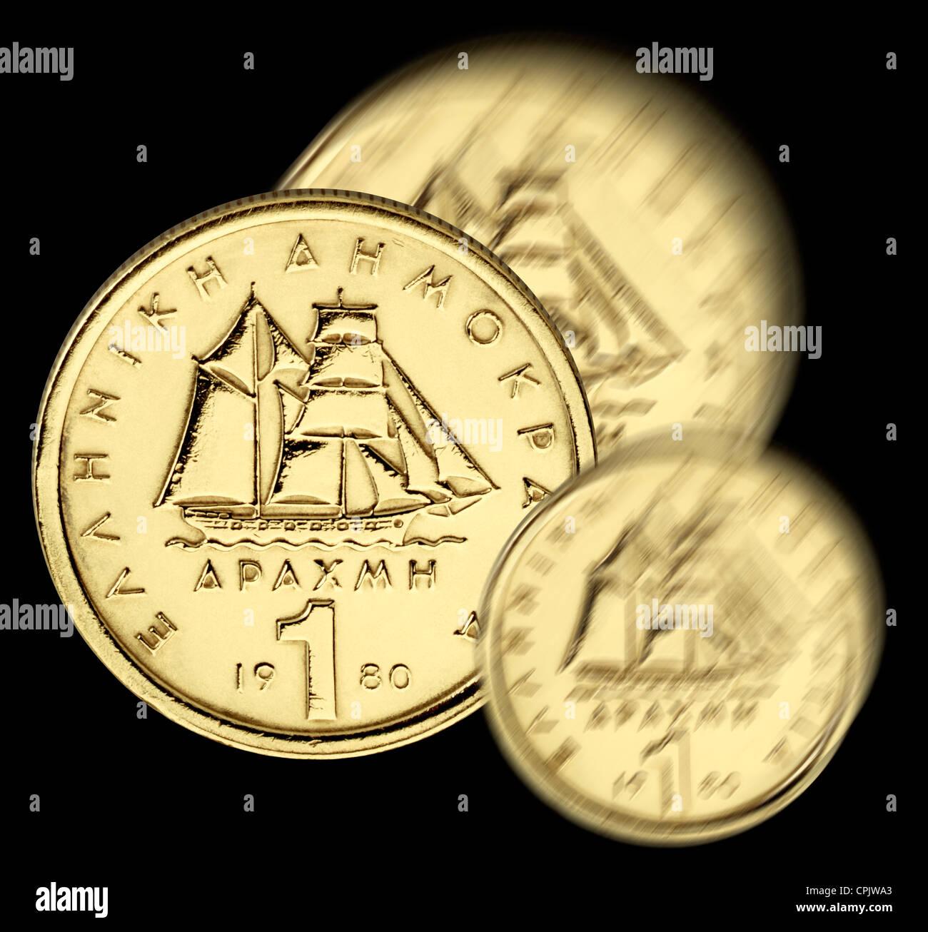 1 drachma coin, Greece - Stock Image