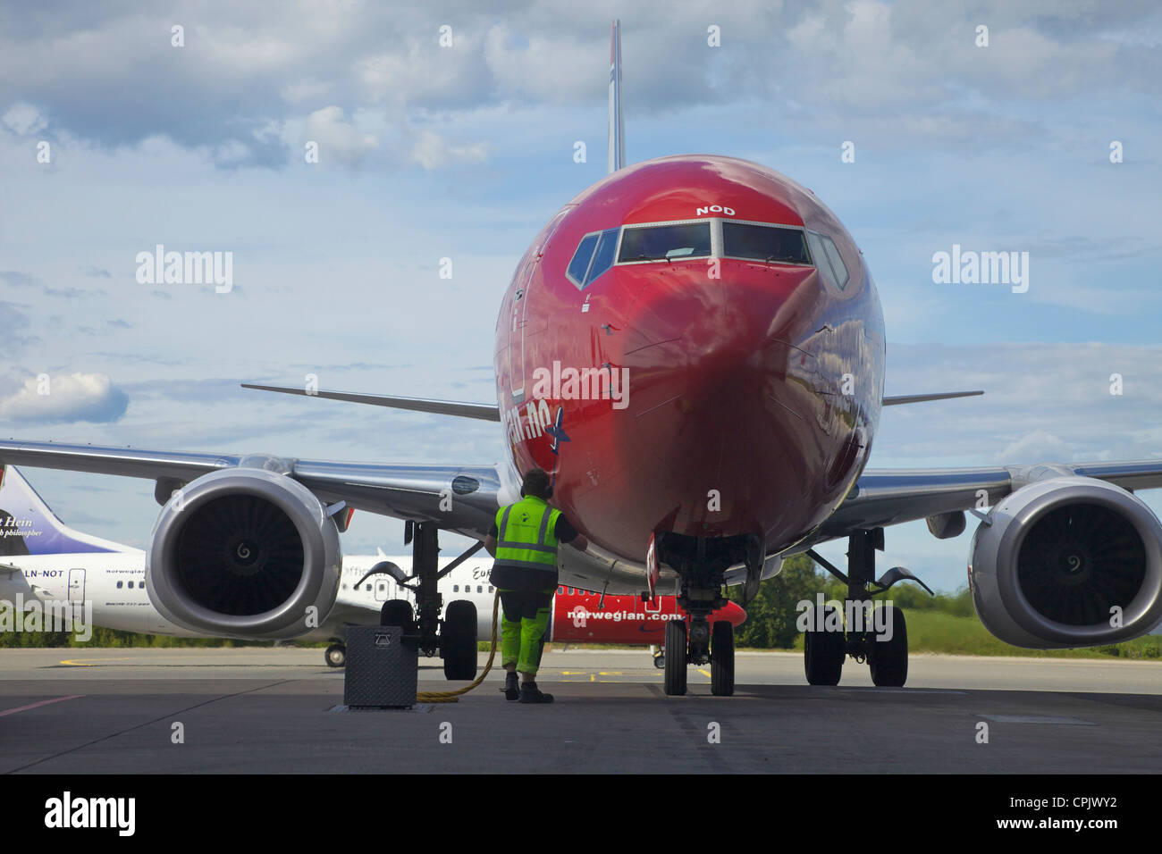 Norwegian.com shuttle airline Oslo international airport Norway, Europe - Stock Image