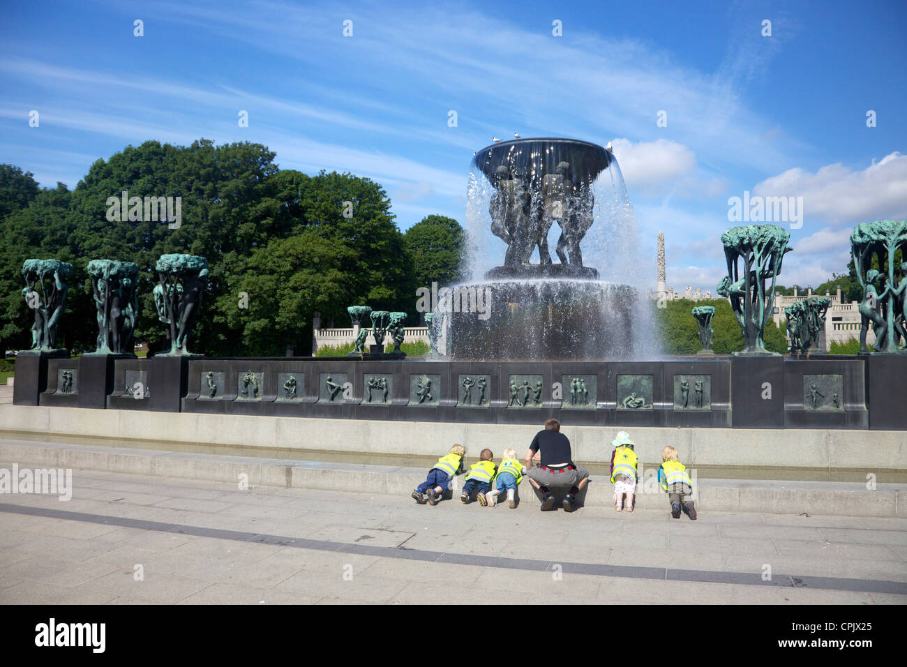 Fountain with Tree Groups, by Gustav Vigeland, sculptures in bronze in  Vigeland Sculpture Park, Frognerparken, - Stock Image