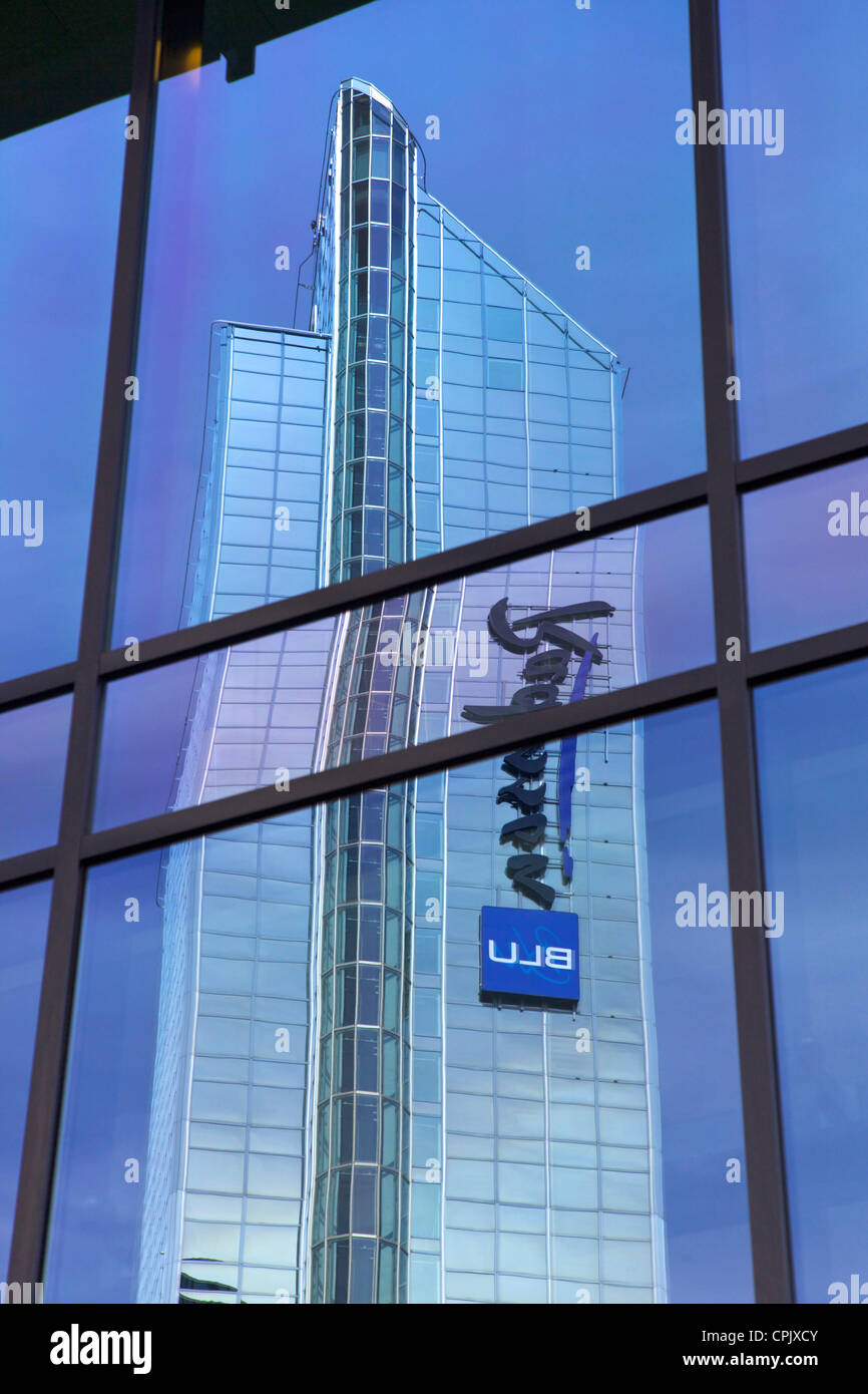 Reflection of Radisson Blu Plaza Hotel, Oslo, Norway, Europe Stock Photo
