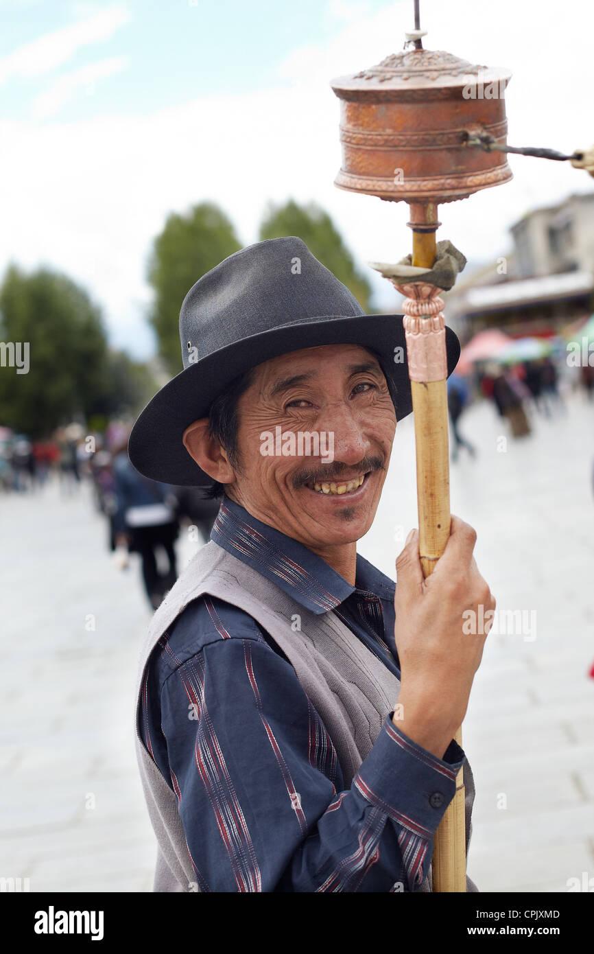 Tibetan in the street, - Stock Image